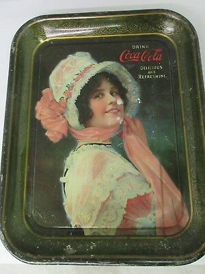 Authentic Coke Coca Cola 1914 Betty Advertising Serving Tin Tray  331-R