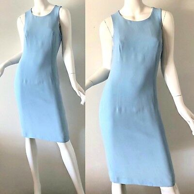 e6d6a64cfe Vintage 90s Gianni Versace Versus Dress Pastel Blue Wiggle Party Italy 44  US XS