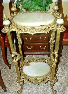 Antique Brass Cast and Onyx 2 Tier Table Etegere Early 1900s