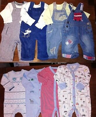 NEW BUNDLE baby boys clothes DUNGAREES SLEEPSUIT NEXT M&S TED BAKER 0-3-6 months