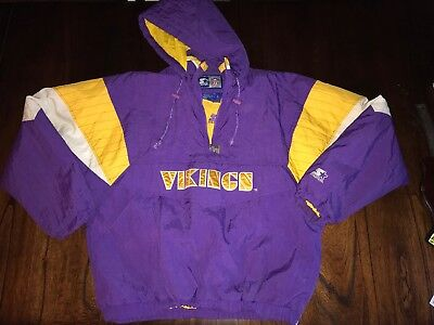 competitive price 4563f e5700 VINTAGE 90S MINNESOTA Vikings Starter Pullover Front Pouch Jacket Mens  Large NFL