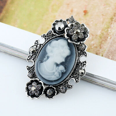 Women Ladies Cameo Rhinestone Jewelry Victorian Style Party Brooch Pin 1PCS