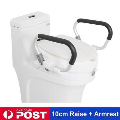 10cm Elevated Raised Toilet Seat With Lid Removable Padded Arms Rest Handle