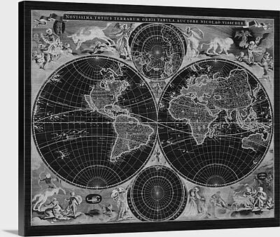 "Antique World Map - 1690 - Stretched Canvas Print - 40"" x 33"""