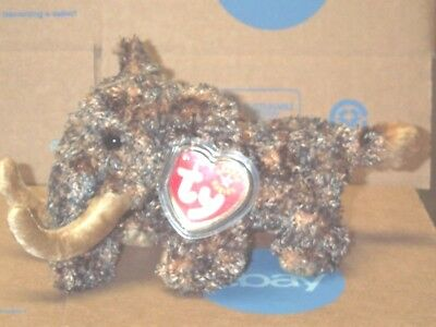 """TY Beanie Baby Babies Giganto Wooly Mammoth Brown 5"""" Tall 12-17-2000 Mint Tags"""