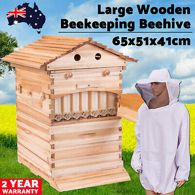 LARGE Wooden Beekeeping Beehive House + 7PCS Upgraded Auto Flow Bee Comb Frames
