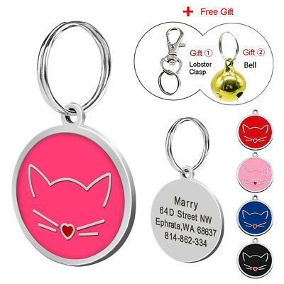 Pet Dog Cat ID Tags Personalised  Engraved Name Number for Puppy Kitty Free Bell