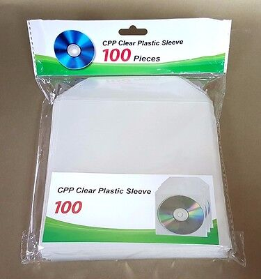 10000 CD DVD CPP Clear Plastic Sleeve with Flap Envelopes 100micron