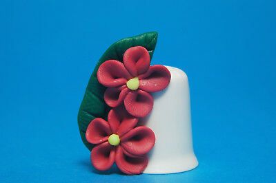 Polymer Clay Handmade & Unique Flowers On China Thimble Made By Rachel No.6 B/45