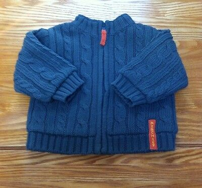 Baby Boys Green Knited Fleece Lined Cardigan Jacket Top Age 3 - 6 Months