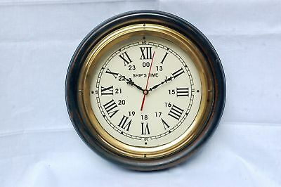 "Collectibles Nautical 12"" Full Brass Ring Wall Clock-World-Time-Clock Home Decor"