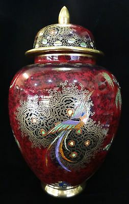 Fine Carlton Ware Chinese Bird and Tree Lidded Vase c. 1930s