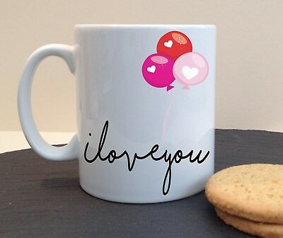 Love You Balloons Mug Coffee Tea Cup Personalised Valentines Gift