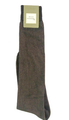 Vannucci Couture Dress Socks Mens Knee Over the Calf Brown Pin Stripe 10-13 $30