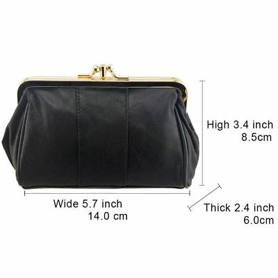 New Women Coin Purse Genuine Leather Card Holder Wallet Metal Frame Change Purse
