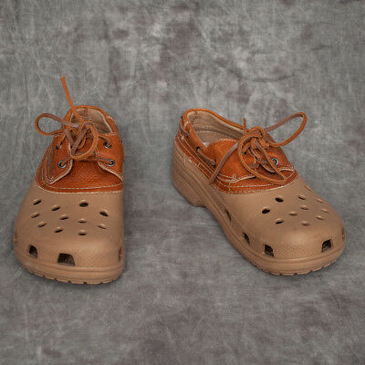 184ddb62a21032 CROCS Mens Islander Size 12 Brown Leather Rubber Oxfords Boat Shoes Loafers