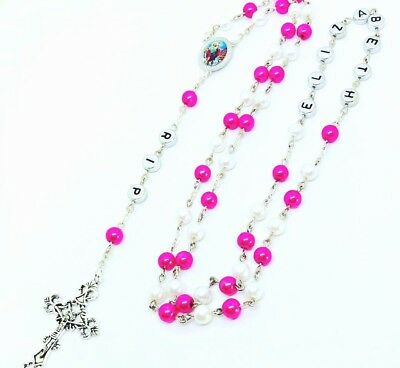 PERSONALISED Any Name 2 colour Glass Rosary beads Holy Communion, Christening