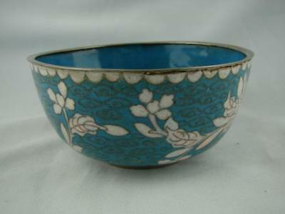 CHINESE EARLY 20th CENTURY WHITE METAL CLOISONNE BOWL, TURQUOISE & WHITE DECOR