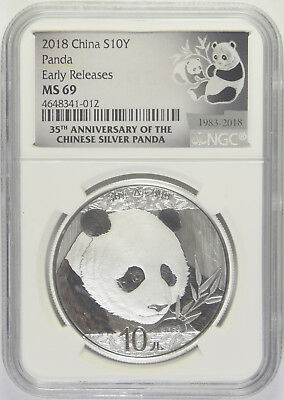 2018 Chinese Silver Panda NGC MS-69 Early Releases 35th Anniversary of the Panda