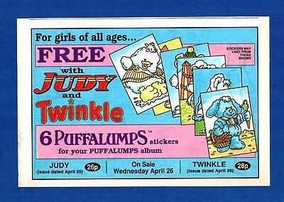 6 PUFFALLUMPS STICKERS Free with JUDY & TWINKLE COMIC  (1989 Advertisement)