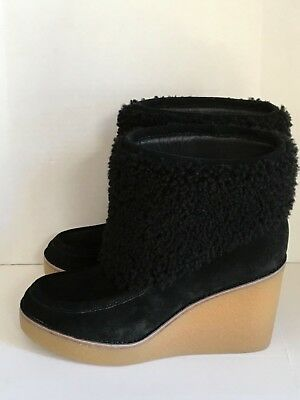 7bfcba17940 UGG AUSTRALIA EMALIE SZ 9 M BLK LEATHER WEDGE ANKLE BOOT WATERPROOF ...