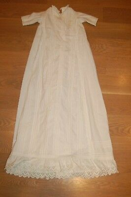 Exceptional VTG CHRISTENING GOWN baptism BABY DRESS EYELET LACE / FOLDED PLEATS