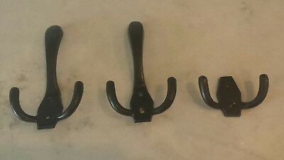 Set 3 Pottery Barn Oil Rubbed Bronze Wall Mount Triple Coat Hooks Large & Small