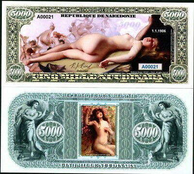 Republique De Nakedonie 5,000 Nuudinara Bare Naked Nude Ladies Fantasy Art Note!