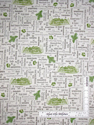 US National Parks Name State Motif Toss Ecru Cotton Fabric QT24403-E Yard