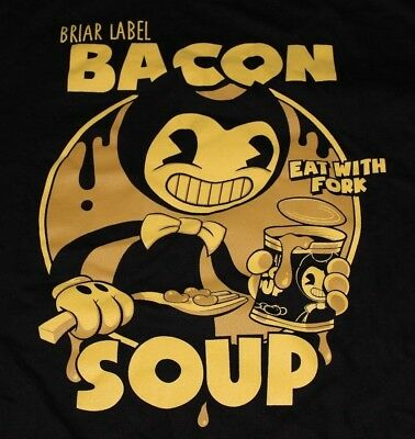 New Bendy And The Ink Machine Bacon Soup Licensed T Shirt Mens Large L