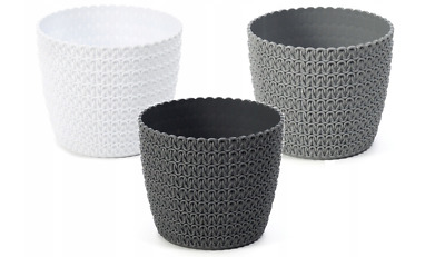 Rattan plastic plan pot cover indoor round knitted modern decorative plant pot
