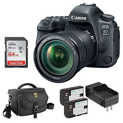 Canon EOS 6D Mark II DSLR Camera with 24 - 105mm f/3.5-5.6 Lens Bundle