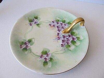 Vintage Hand Painted White China Nappy W/ Finger Handle. Violets