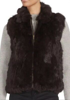 Saks Fifth Avenue Brown Rabbit Fur Vest Small Medium 100% Authentic $400