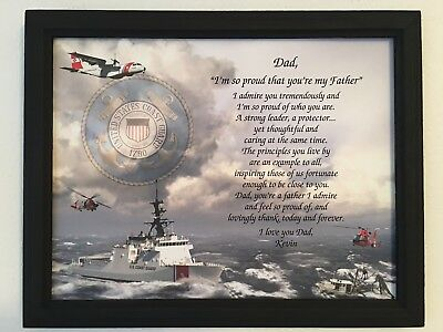 Coast Guard Gifts Fathers Day Birthday Gift For Dad Veterans Framed