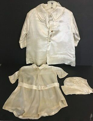 Vintage Silk Infant Toddler Lined 3 Piece Christening Outfit Bodysuit Coat & Hat