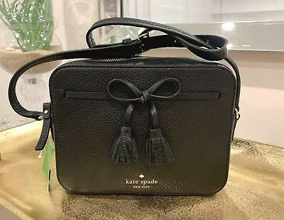 NEW Kate Spade Hayes Street Arla Snake Crossbody Black Leather tassel bow  front 8998be588e