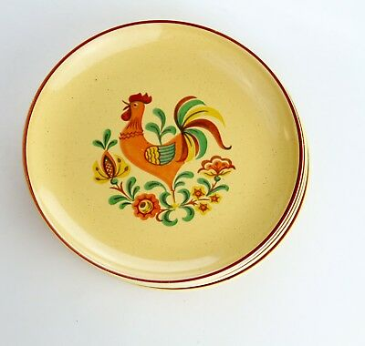 Taylor, Smith & Taylor Reveille Rooster Set of 6 Bread Plates Vintage TS&T