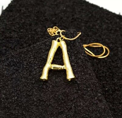 Alphabet Letter Initial Pendant Necklace Brass CELINE INSPIRED A to Z