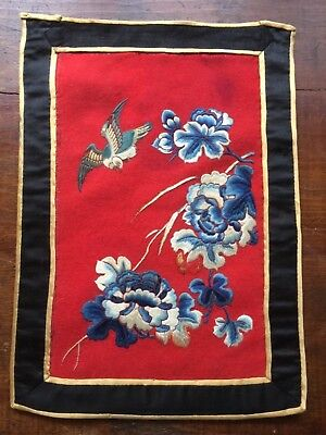 Vintage Red Embroidered Chinese Tapestry Bird With Blue Flowers