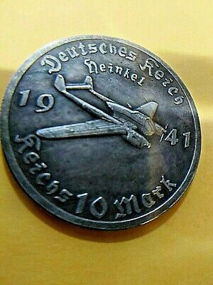 1941 German 10 Reichsmark Heinkel He 111 Bomber Airplane Wwii Commemorative Coin