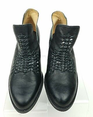 c675097a6906 LATIGO Kick Woven Bootie Split Shaft Leather Boots shoes Black Sz 6M