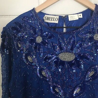 Swee Lo Shirt M 100% Silk Vintage Sequin Beaded Top Blue