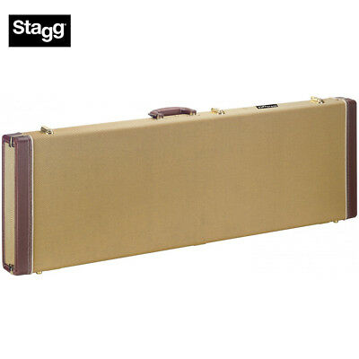 Stagg GCX-RB GD Gold Tweed Vintage Style Deluxe Hard Shell Case Electric Bass