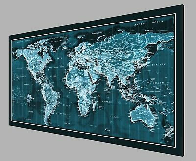 "Current 2019 World Map - Metal Print on White Pearlescent Aluminum - 46"" x 23"""