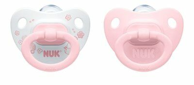 NUK Baby Soother Dummy Rose Girls Silicone Orthodontic Age 0-6 Mths - Pack of 2
