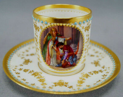 Royal Vienna Hand Painted Tannhauser Opera Scene Raised Gold & Jeweled Cup C1900