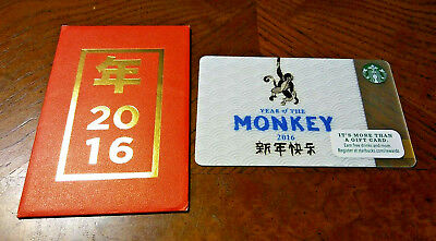 Starbucks 2016 Year Of The Monkey Card With Matching Envelope! No Balance.