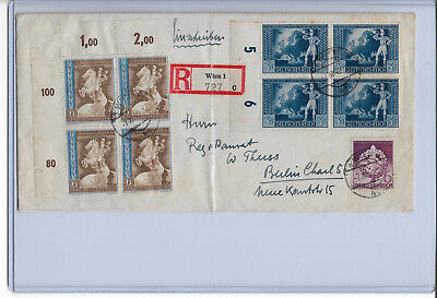 Germany 1942,Third  Reich Postal Cover, Blocks on Cover,VF !,See Pics ! (RN-II)