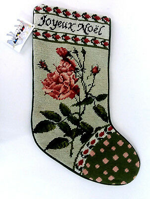 Completed Wool Needlepoint Christmas Stocking French Country Floral Shabby New
